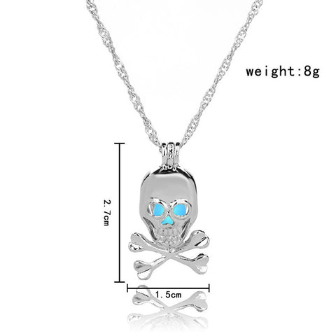 Blue Glow in the Dark Skull Pendant Necklace