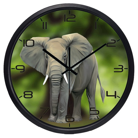 Lifelike Elephant High Definition Print Black Frame Quartz Wall Clock
