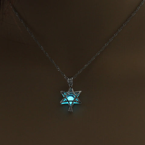 Image of Blue Green Glow In The Dark Hollow Five Pointed Star Pendant Necklace