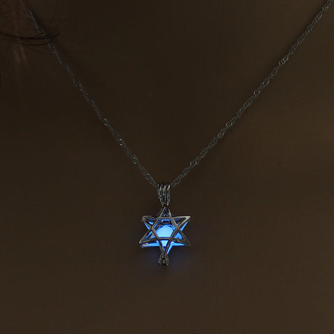 Image of Blue Glow In The Dark Hollow Five Pointed Star Pendant Necklace