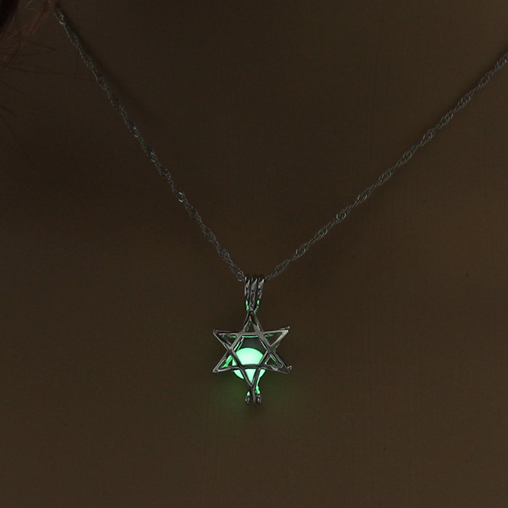 Yellow Green Glow In The Dark Hollow Five Pointed Star Pendant Necklace