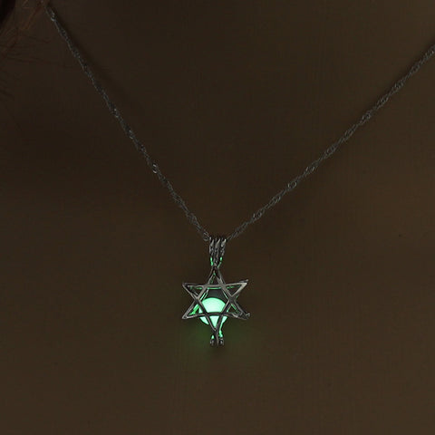Image of Yellow Green Glow In The Dark Hollow Five Pointed Star Pendant Necklace