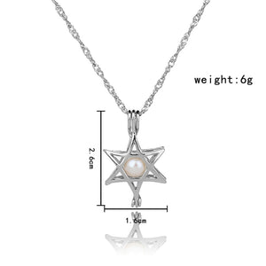Blue Glow In The Dark Hollow Five Pointed Star Pendant Necklace
