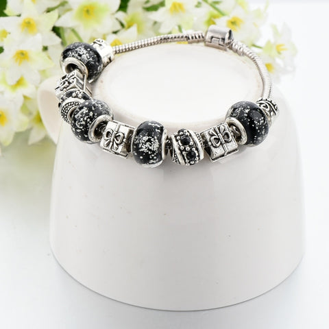 Image of Black Crystal Charm Bracelet