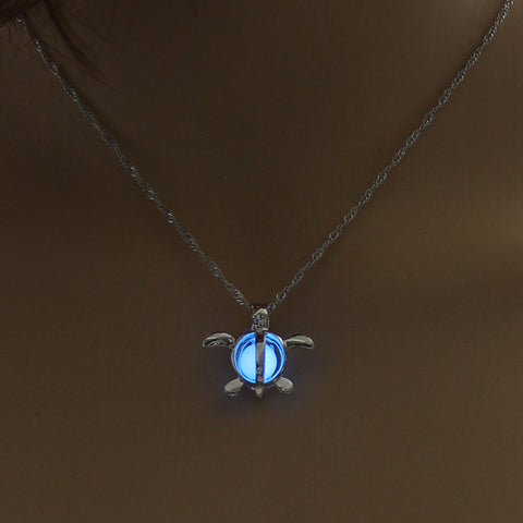 Image of Blue Glow In The Dark Hollow Turtle Pendant Necklace