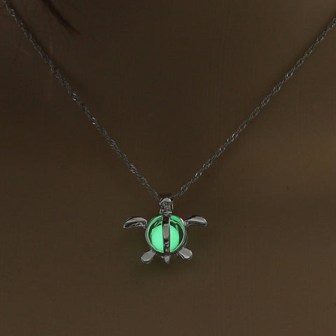 Yellow Green Glow In The Dark Hollow Turtle Pendant Necklace