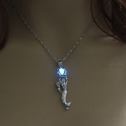 Image of Blue Glow in the Dark Mermaid Pendant Necklace