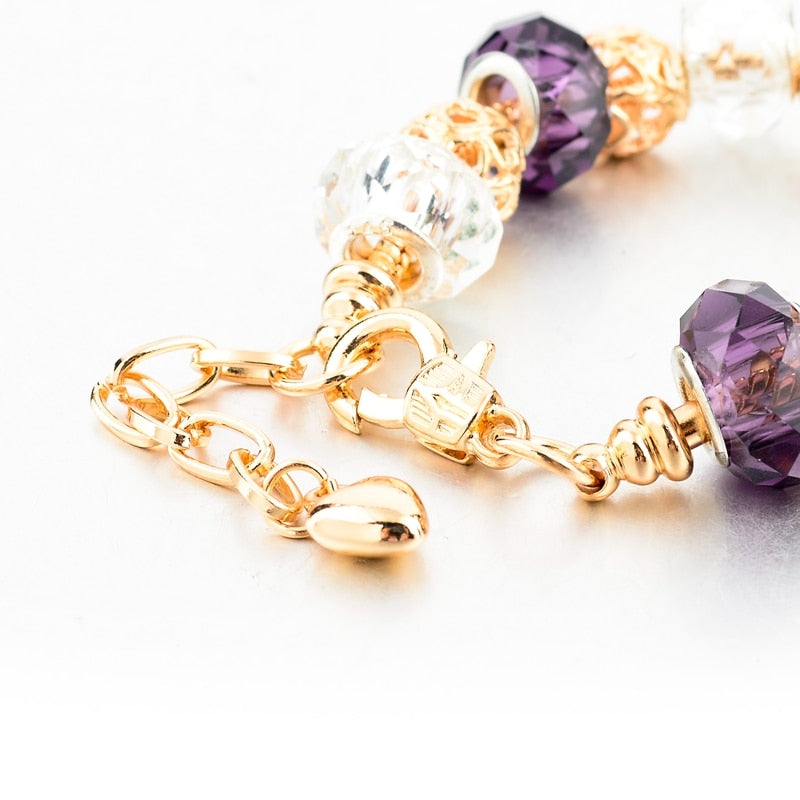 Purple Crystal Charm Bracelet
