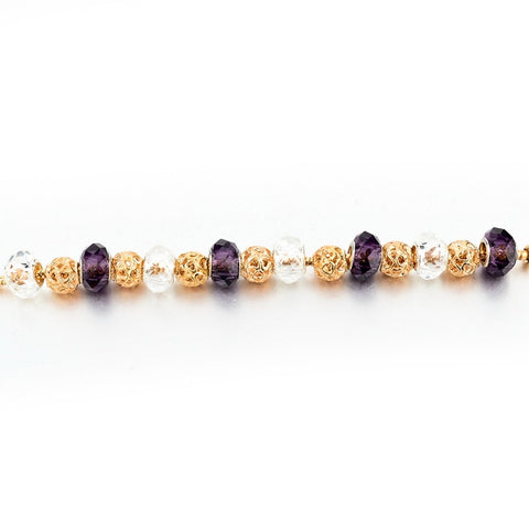Image of Purple Crystal Charm Bracelet