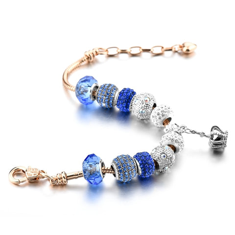 Blue Crystal Silver Crown Charm Bracelet