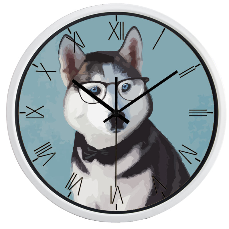 Husky Dog High Definition Print White Frame Quartz Wall Clock