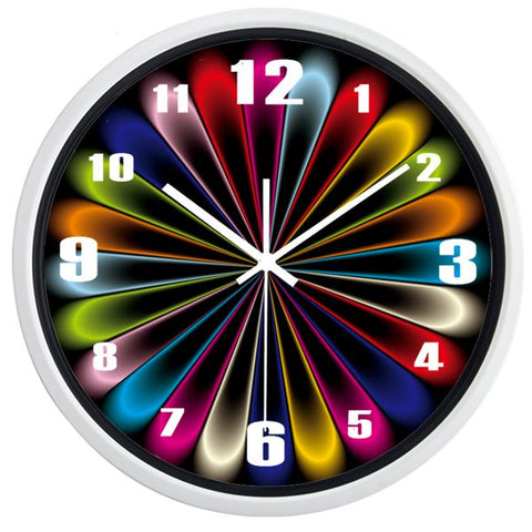 Image of Creative Abstract Neon Light High Definition Print White Frame Quartz Wall Clock