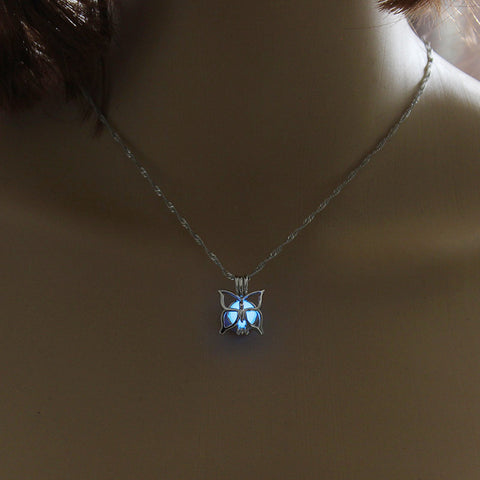 Blue Glow In The Dark Hollow Butterfly Pendant Necklace