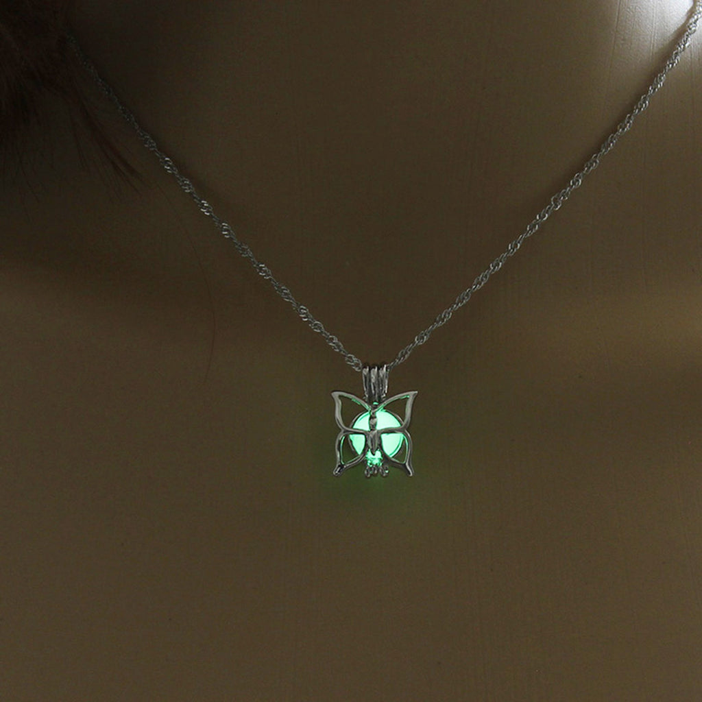 Yellow Green Glow In The Dark Hollow Butterfly Pendant Necklace