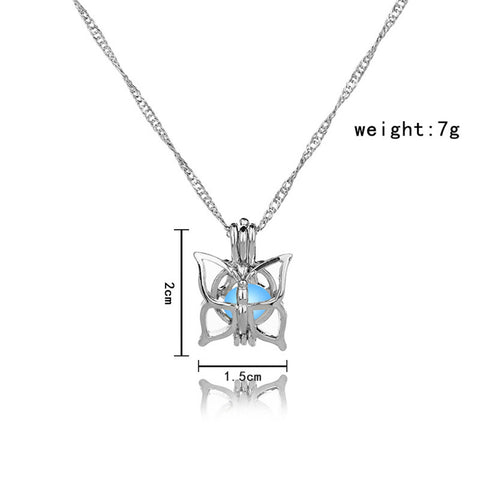Image of Blue Glow In The Dark Hollow Butterfly Pendant Necklace
