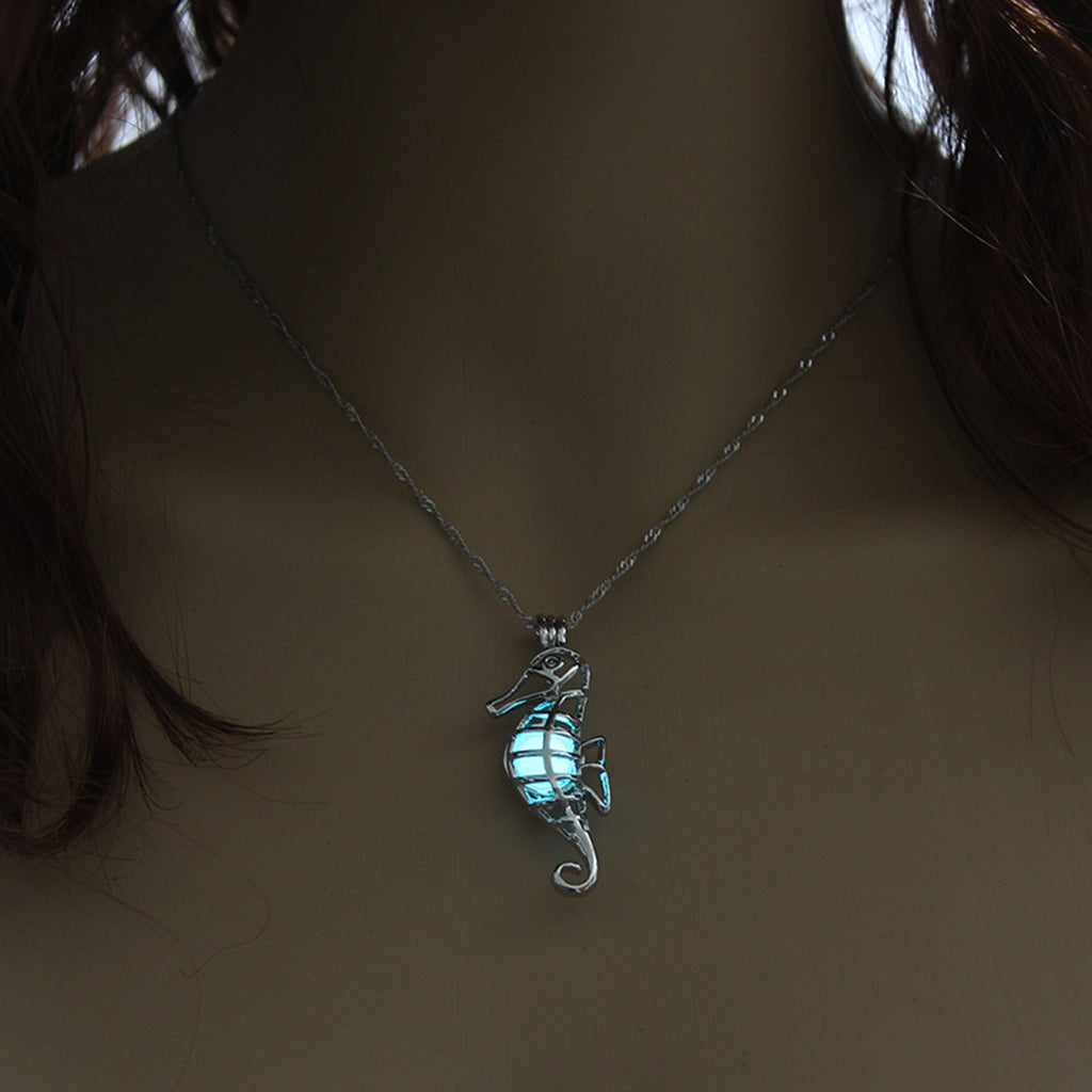 Blue Green Glow In The Dark Hollow Seahorse Pendant Necklace