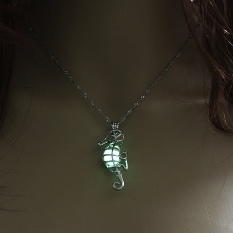 Image of Yellow Green Glow In The Dark Hollow Seahorse Pendant Necklace
