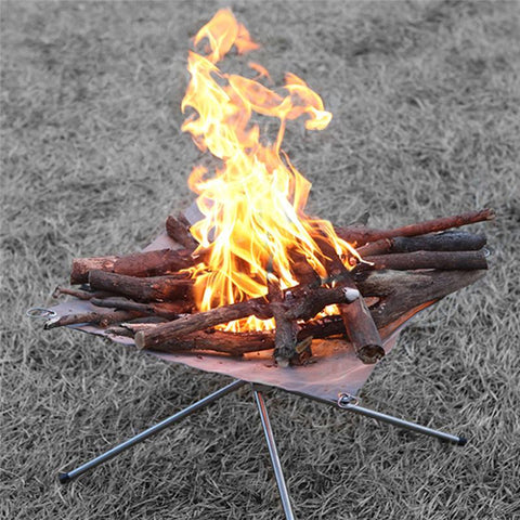 Image of Portable Folding Stainless Steel Campfire Stand
