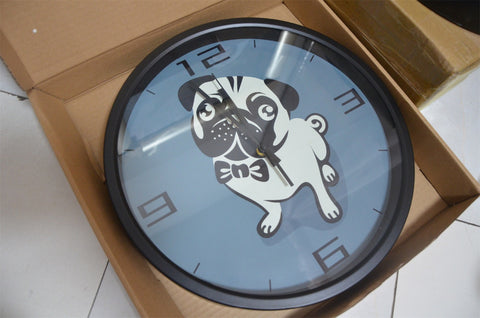 Cartoon Cute Pug High Definition Print Black Frame Quartz Wall Clock
