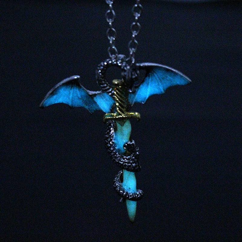 Blue Glow In The Dark Game of Throne Dragon Pendant Necklace