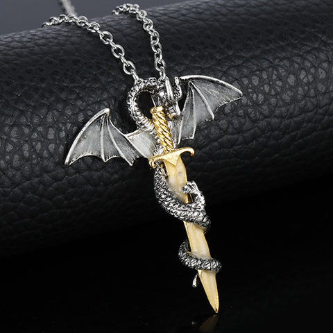 Image of Blue Glow In The Dark Game of Throne Dragon Pendant Necklace