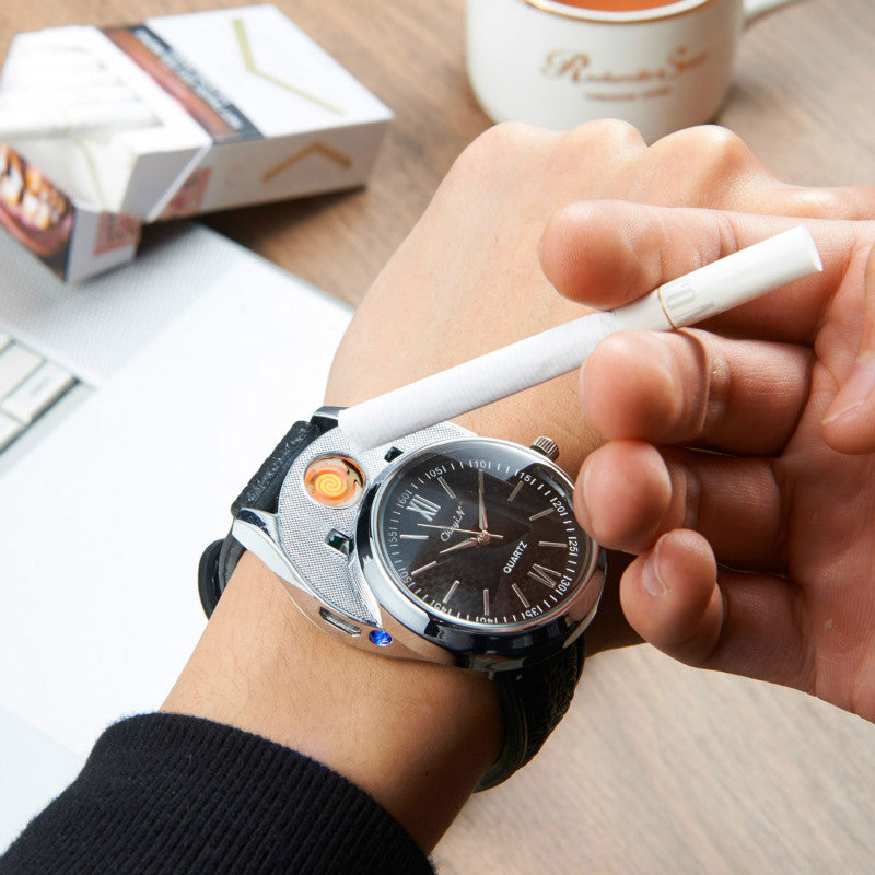 Black Silver Windproof Flame-less Cigarette Lighter Metal Watch