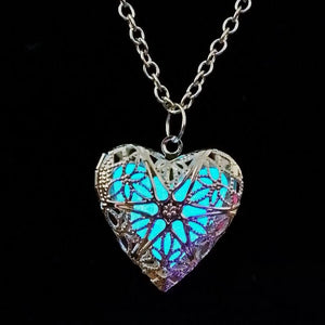 Light Blue Glow In The Dark Heart Pendant Necklace