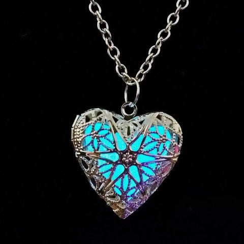 Image of Light Blue Glow In The Dark Heart Pendant Necklace