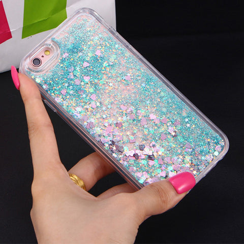 Image of Apple iPhone 5, 5S and SE Dynamic Liquid Stars Hearts Glitter Soft TPU Cell Phone Case Cover