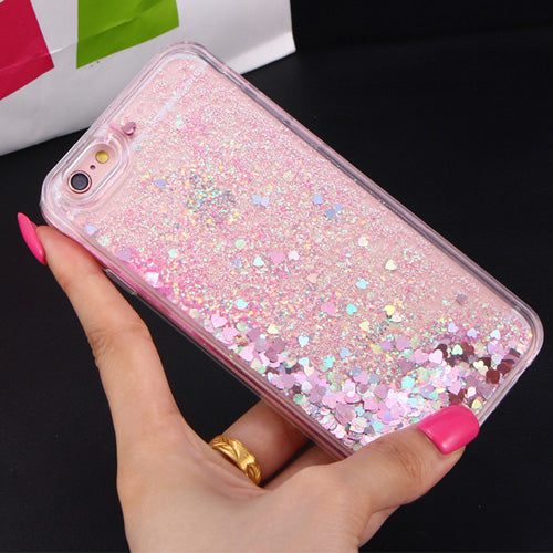 Apple iPhone 7 Plus Dynamic Liquid Stars Hearts Glitter Soft TPU Cell Phone Case Cover