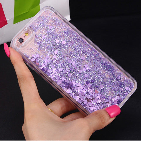 Image of Apple iPhone 7 Dynamic Liquid Stars Hearts Glitter Soft TPU Cell Phone Case Cover