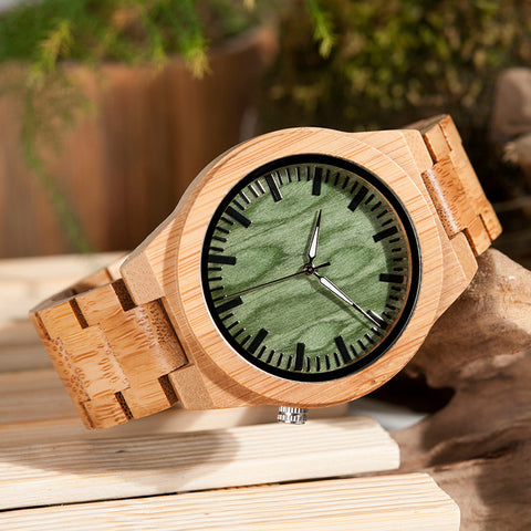 Handmade Natural Wood Bamboo Watch With Green Dial Wooden Adjustable Links