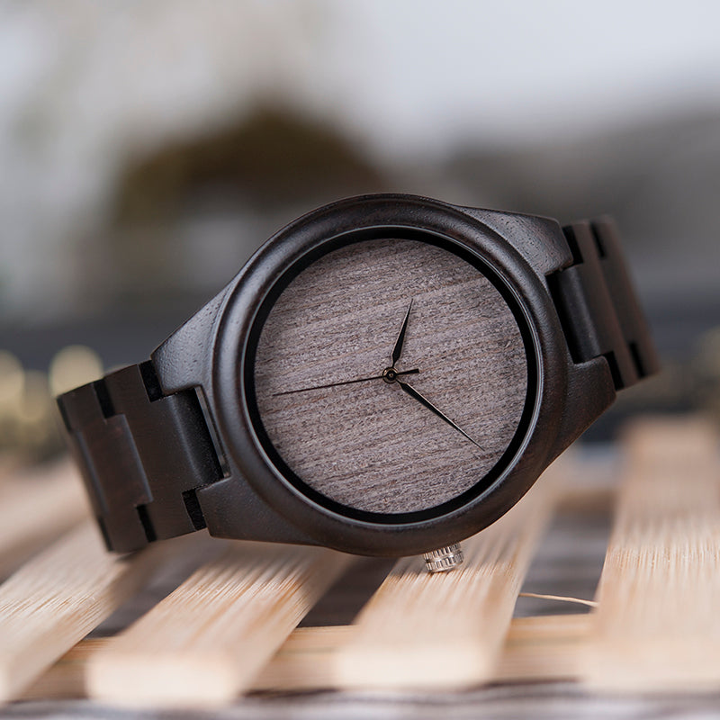 Handmade Natural Wood Bamboo Black Gray Ebony Watch Wooden Adjustable Links