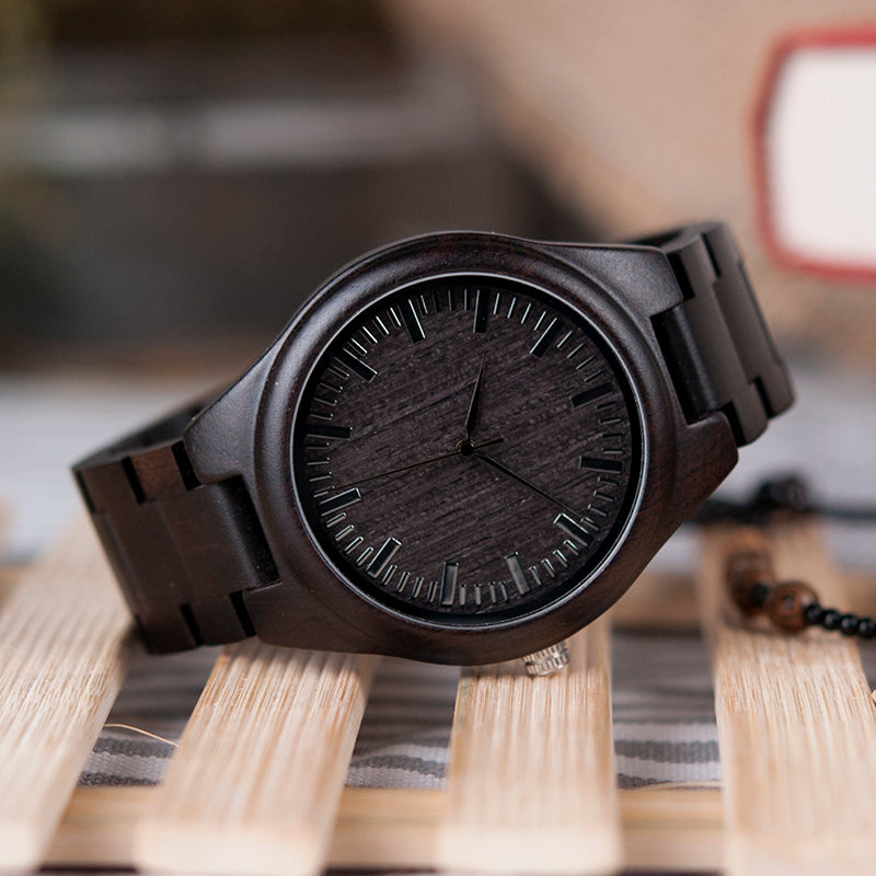 Handmade Natural Wood Bamboo Black Ebony Watch Wooden Adjustable Links