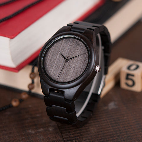 Image of Handmade Natural Wood Bamboo Black Gray Ebony Watch Wooden Adjustable Links