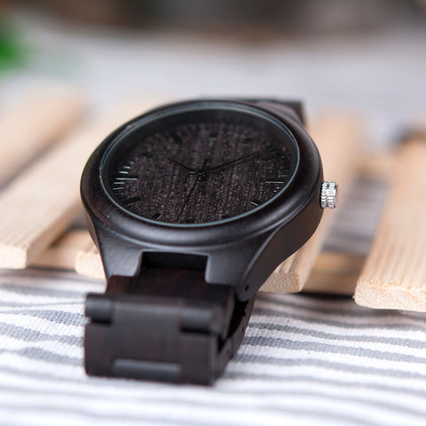 Image of Handmade Natural Wood Bamboo Black Ebony Watch Wooden Adjustable Links