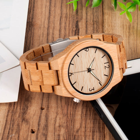 Image of Handmade Natural Bamboo Wood Watch Glow in Dark Adjustable Wooden Link Band