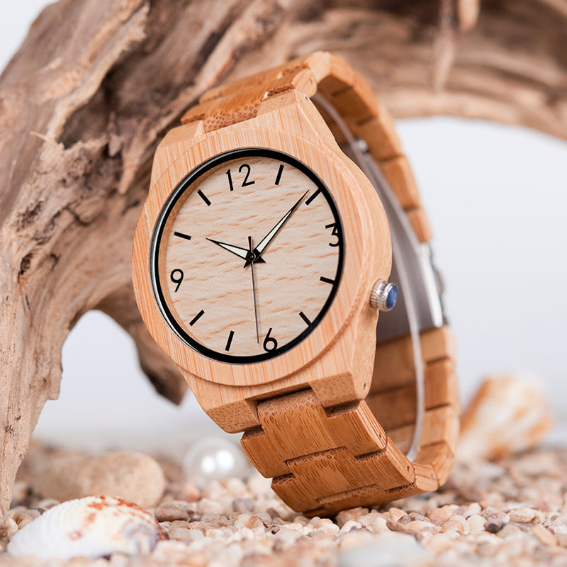 Handmade Natural Bamboo Wood Watch Glow in Dark Adjustable Wooden Link Band