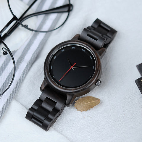 Handmade Natural Bamboo Wood Black Watch Wooden Adjustable Link Band