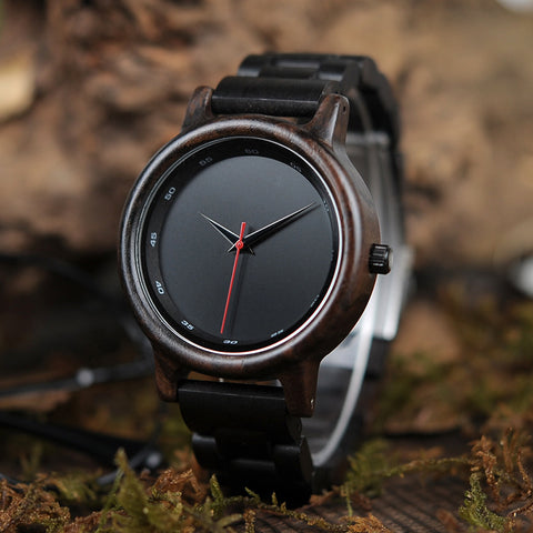 Image of Handmade Natural Bamboo Wood Black Watch Wooden Adjustable Link Band