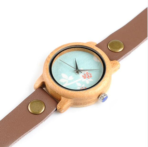 Image of Handmade Natural Bamboo Wooden Watch Flower Brown Long Genuine Leather Band