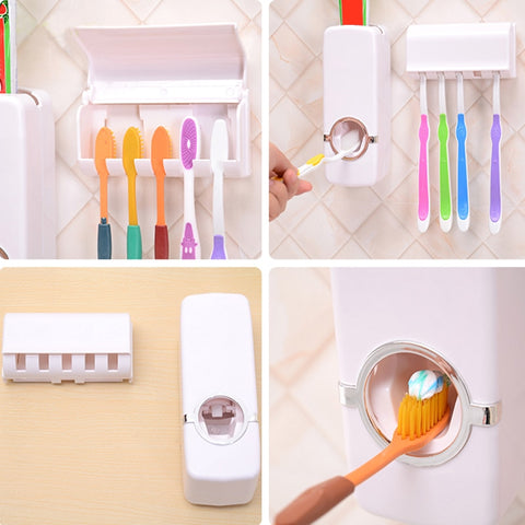 Image of Automatic Toothpaste Dispenser + 5 Toothbrush Holder