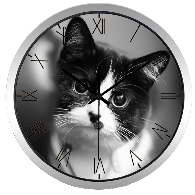 Cute Cat High Definition Print Silver Frame Quartz Wall Clock