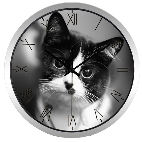 Image of Cute Cat High Definition Print Silver Frame Quartz Wall Clock