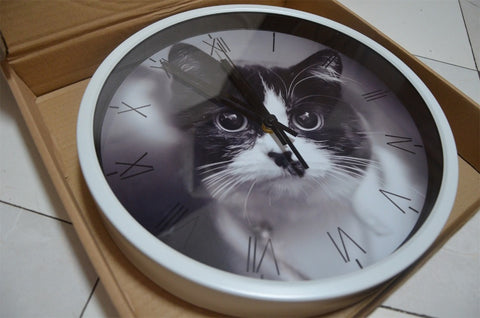 Image of Cute Cat High Definition Print White Frame Quartz Wall Clock