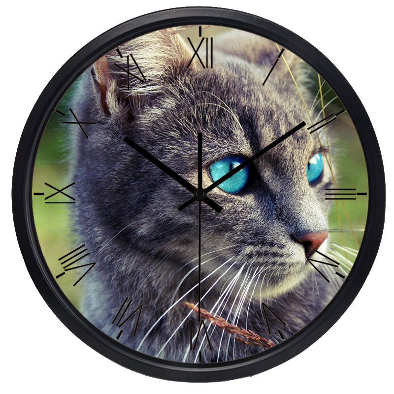 Blue Eye Cat High Definition Print Black Frame Quartz Wall Clock