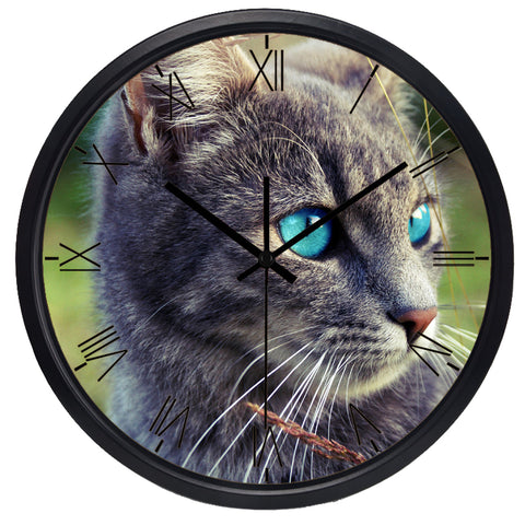 Image of Blue Eye Cat High Definition Print Black Frame Quartz Wall Clock