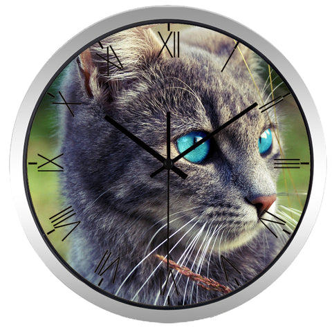 Image of Blue Eye Cat High Definition Print Silver Frame Quartz Wall Clock