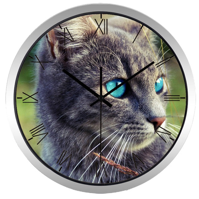Blue Eye Cat High Definition Print Silver Frame Quartz Wall Clock