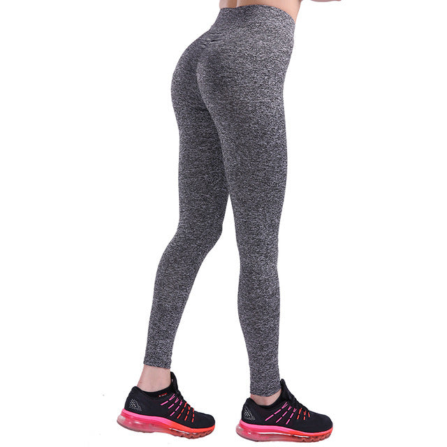 Solid High Waist Push Up Fitness Leggings